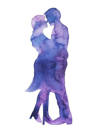 幸せなカップルの恋人のキス、結婚式のカードや婚約、従事する、バレンタインの日、幸福、水彩画イラスト デザイン