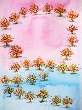lovely tree garden for wedding, valentines day, watercolor painting design illustration