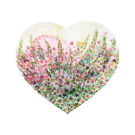 heart shape love tree for wedding, valentines day, watercolor painting design illustration