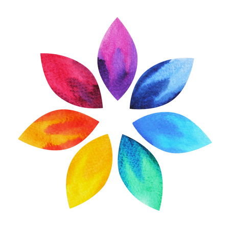 7 color of chakra sign symbol, colorful lotus flower icon, watercolor painting hand drawn, illustration design