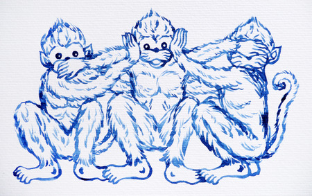 funny 3 monkeys concept, watercolor painting illustration design, hand drawn Zdjęcie Seryjne