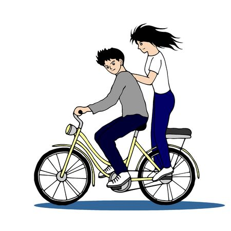 Hand-drawn cute couple riding a bicycle.
