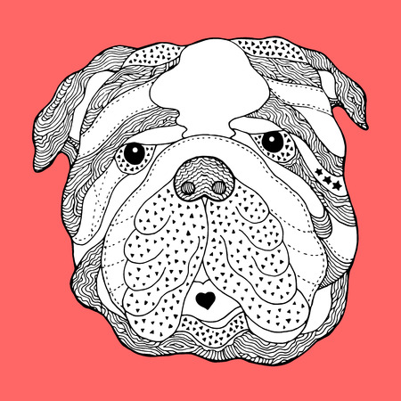 Hand-drawn skull head dog illustration. Ilustracja