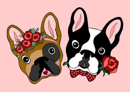 Hand drawn cute dog couple with rose. Ilustracja