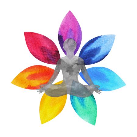 7 colores de símbolo de chakra, flor de loto con cuerpo humano, pintura de acuarela dibujado a mano, diseño de ilustración