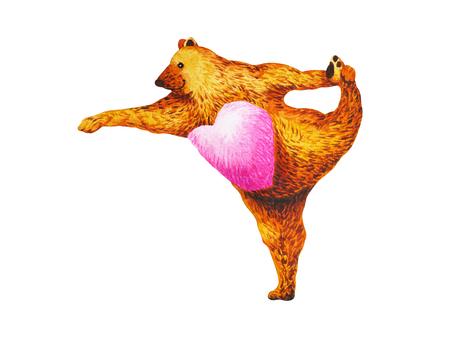 Standing Bow Pulling Pose Yoga : Dandayamana Dhanurasana, watercolor painting, chakra power, cute big bear cartoon design illustration