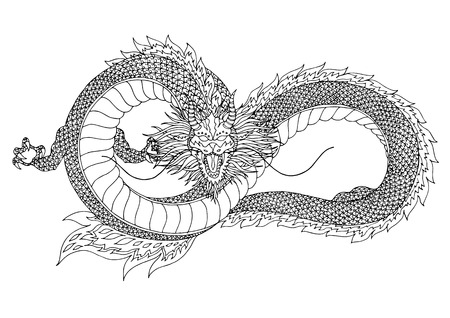 dragon sign symbol logo, infinity shape, hand drawn vector illustration design