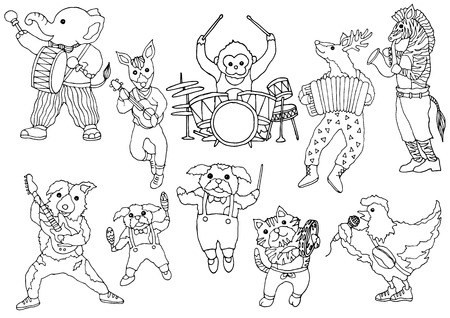 set of animal music band funny hand drawn vector illustration design