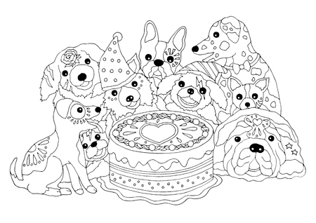 dogs happy birthday party with big cake, hand drawn vector illustration design