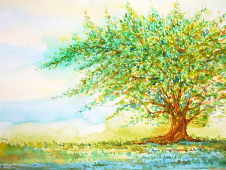 Grand arbre dans le champ d'herbe et le ciel bleu, peinture aquarelle sur papier tiré à la main, minimal Banque d'images - 75799461