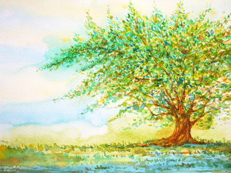 big tree in grass field and blue sky, watercolor painting on paper hand drawn, minimal