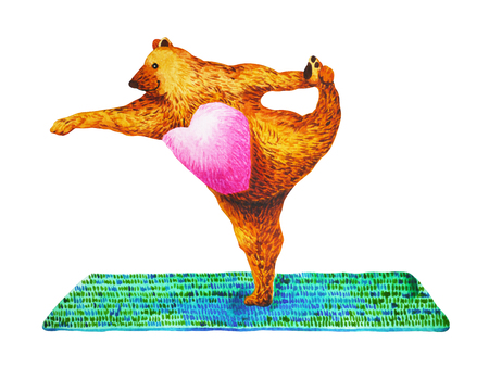 Standing Bow Pulling Pose Yoga : Dandayamana Dhanurasana, watercolor painting, chakra power, cute big bear cartoon design illustration