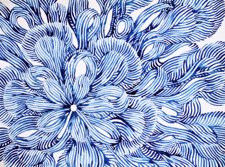abstract flower floral pattern design illustration watercolor painting, blue and white tone Zdjęcie Seryjne