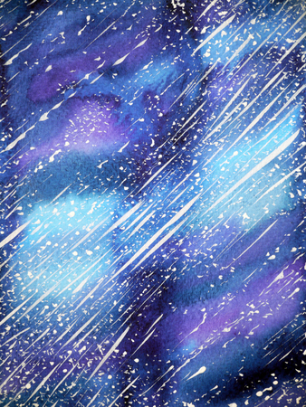 beautiful universe background watercolor painting on paper illustration design Stock Photo