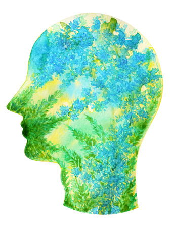 human head, chakra power, inspiration abstract thinking thought, world, universe inside your mind, watercolor painting