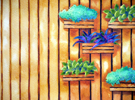 watercolor painting, hand drawn on paper, vertical garden illustration design vivid tone, background for coffee shop, tea restaurant Zdjęcie Seryjne