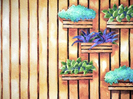 watercolor painting, hand drawn on paper, vertical garden illustration design background for coffee shop, tea restaurant