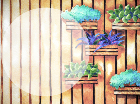 watercolor painting, hand drawn on paper, vertical garden illustration design background with round space for text, coffee shop, tea restaurant