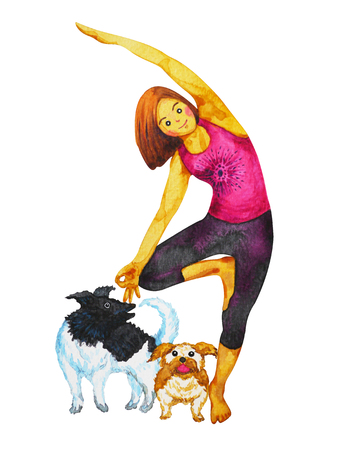 Tree Pose Yoga, Vriksasana position posture, hand drawn watercolor painting girl and dogs cartoon character Zdjęcie Seryjne