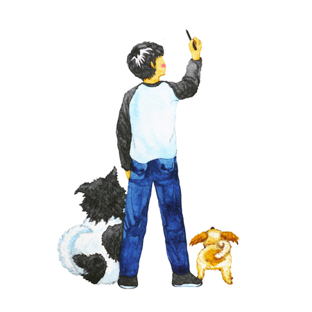 boy drawing in the air with his dogs, watercolor painting design illustration