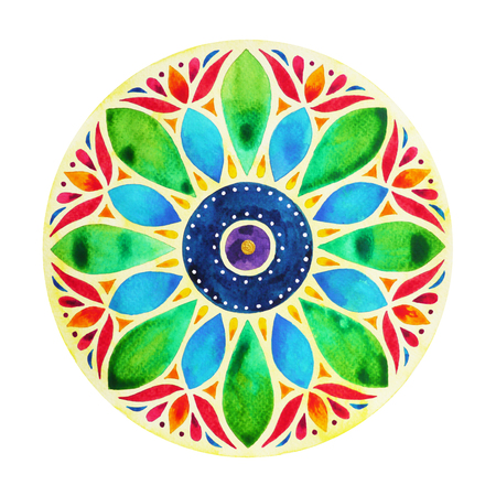 power 7 color chakra sign symbol, colorful lotus flower symbol, watercolor painting on paper, illustration design hand drawn Zdjęcie Seryjne