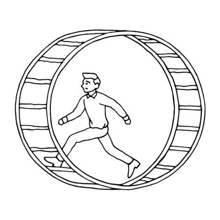 man running in hamster wheel vector hand drawing illustration design Vektorgrafik