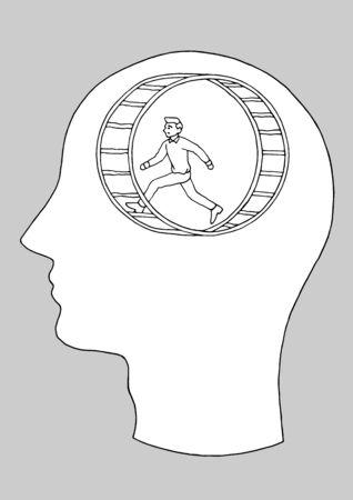 human head man running in hamster wheel vector hand drawing illustration design