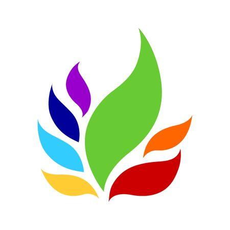 Signe de logo de symbole d'icône de couleur de 7 chakras, fleur florale, dessin de concept d'illustration de conception de vecteur Logo