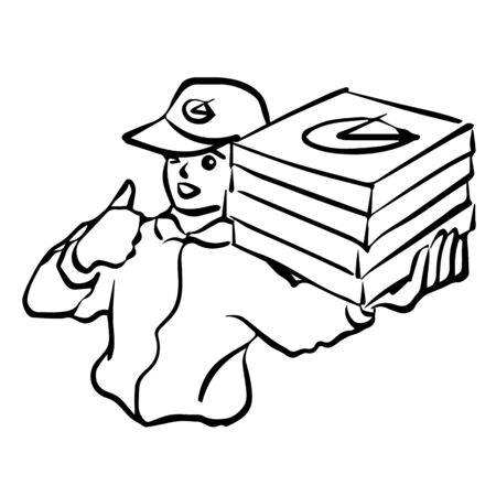 pizza delivery man vector logo illustration hand drawing