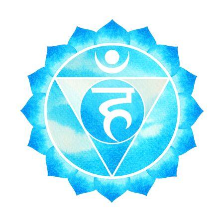 blue color of chakra symbol throat concept, flower floral, watercolor painting hand drawn icon logo, illustration design sign Foto de archivo