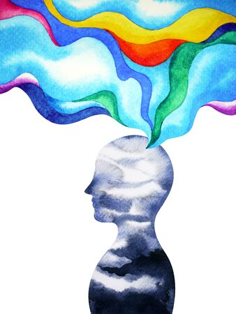 human head spirit powerful energy connect to the universe power abstract art watercolor painting illustration design hand drawn