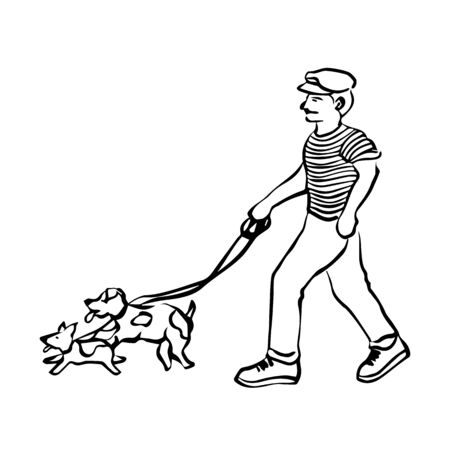 man walking with dogs leash vector illustration doodle sketch hand drawing design Illustration