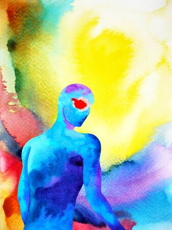 human and spirit powerful energy connect to the universe power abstract art watercolor painting illustration design hand drawing