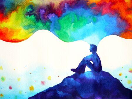 humain et esprit énergie puissante se connecter à la puissance de l'univers art abstrait peinture à l'aquarelle illustration design dessiné à la main