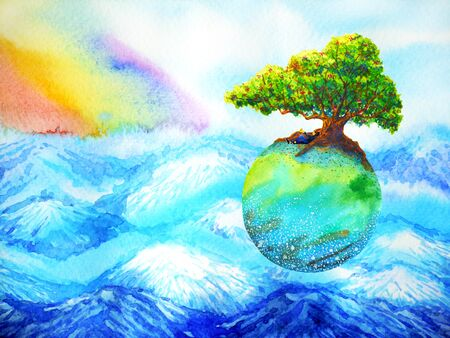 Oak tree on colorful earth floating above mountain with rainbow sky watercolor painting