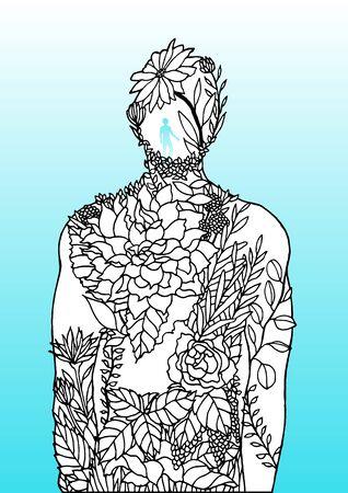 Human body flower man inside spirit power energy vector abstract art illustration design hand drawn