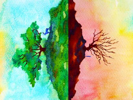 global warming climate change abstract art spiritual mind human animal watercolor painting illustration design hand drawing Stock fotó