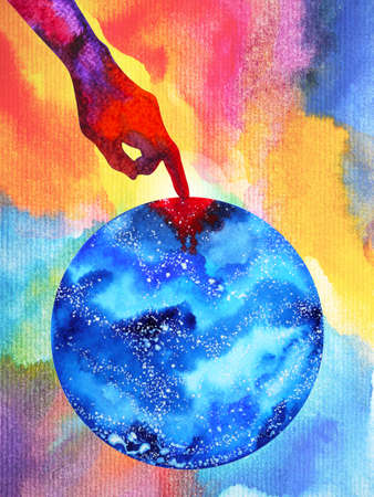 destruction human hand to our earth watercolor painting illustration design hand drawing