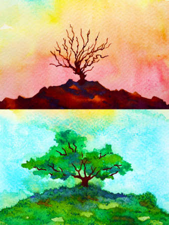 global warming climate change abstract art spiritual mind watercolor painting illustration design hand drawing Stock fotó