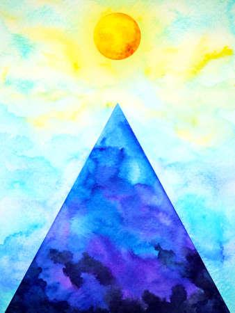 abstract spiritual triangle symbol full sun moon art watercolor painting illustration design drawing