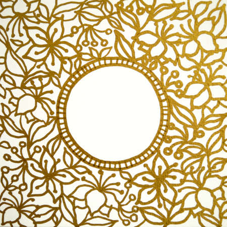 mandala golden flower drawing art illustration design painting Standard-Bild