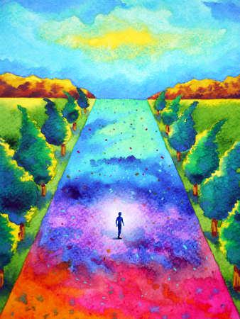 mind spiritual abstract human walking meditation chakra journey path art watercolor painting illustration design drawing