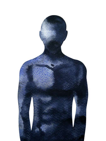 abstract black human mind spiritual body watercolor painting illustration design drawing anatomy art