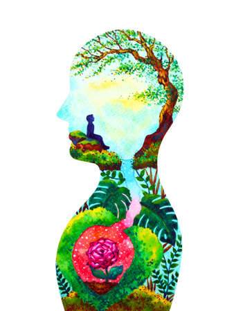 mind spiritual human head mental health watercolor painting illustration design hand drawing