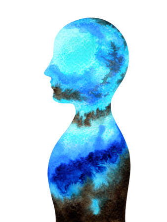 mind spiritual human head abstract art watercolor painting illustration design drawing