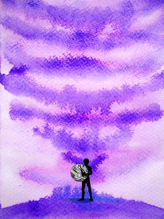 human world mind spiritual abstract watercolor painting illustration design drawing