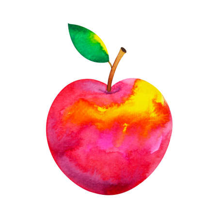 art red apple watercolor paintig illustration design drawing clipping path