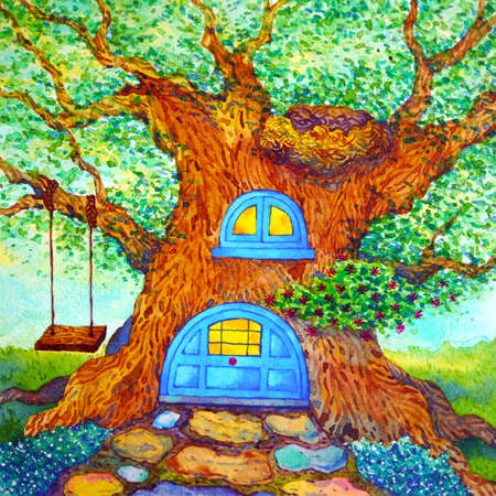 tree house art fantasy watercolor painting fairy tale illustration design hand drawing