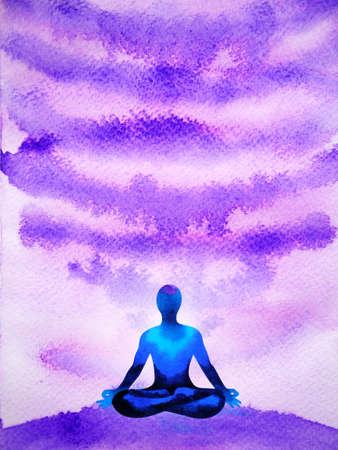crown ckakra mind spiritual meditation human yoga abstract art watercolor painting illustration design drawing Standard-Bild