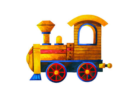 yellow train retro cartoon watercolor painting illustration design